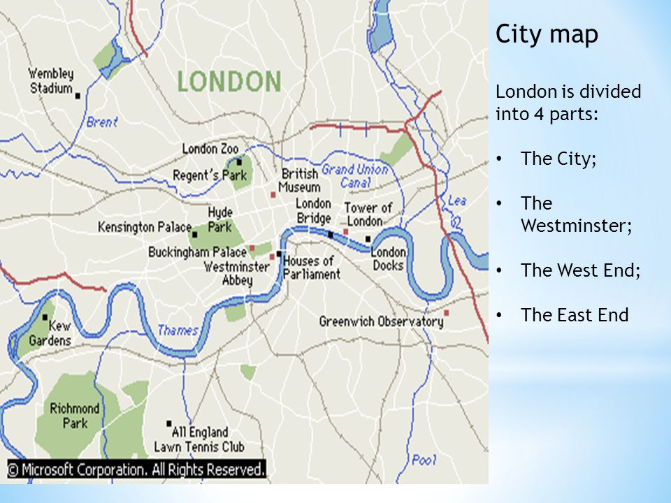 London City Area Map.City Map London Is Divided Into 4 Parts The City The Westminster