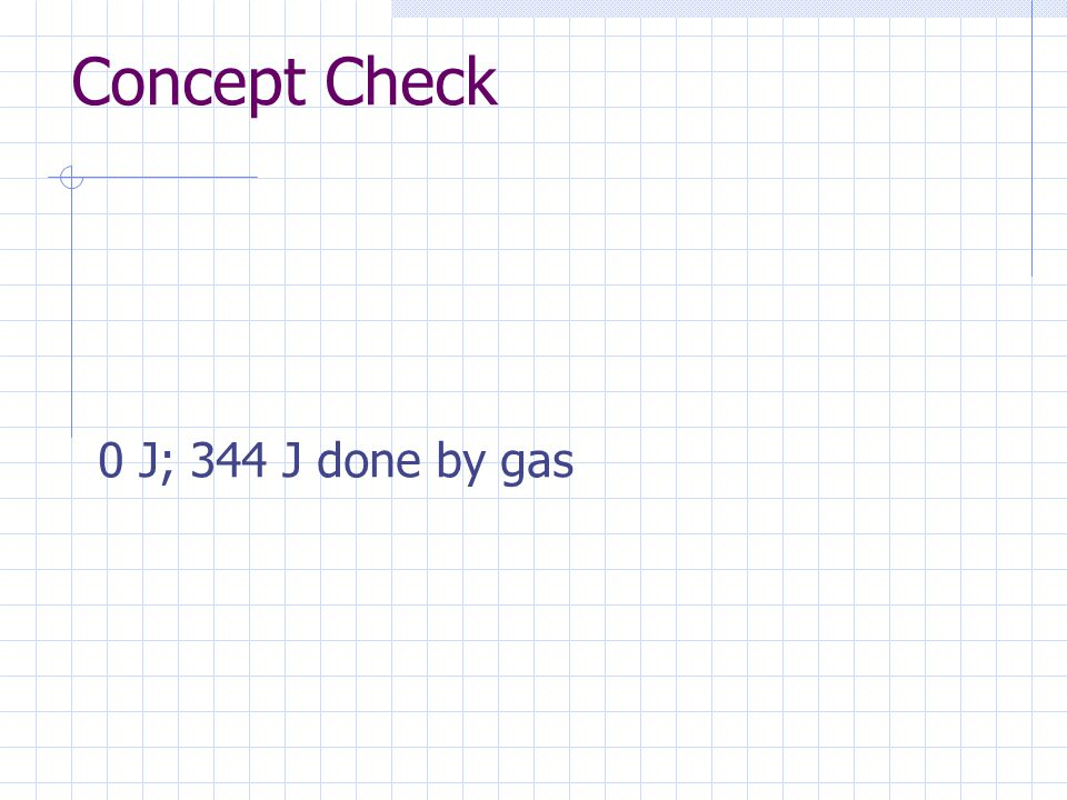 Concept Check 0 J; 344 J done by gas