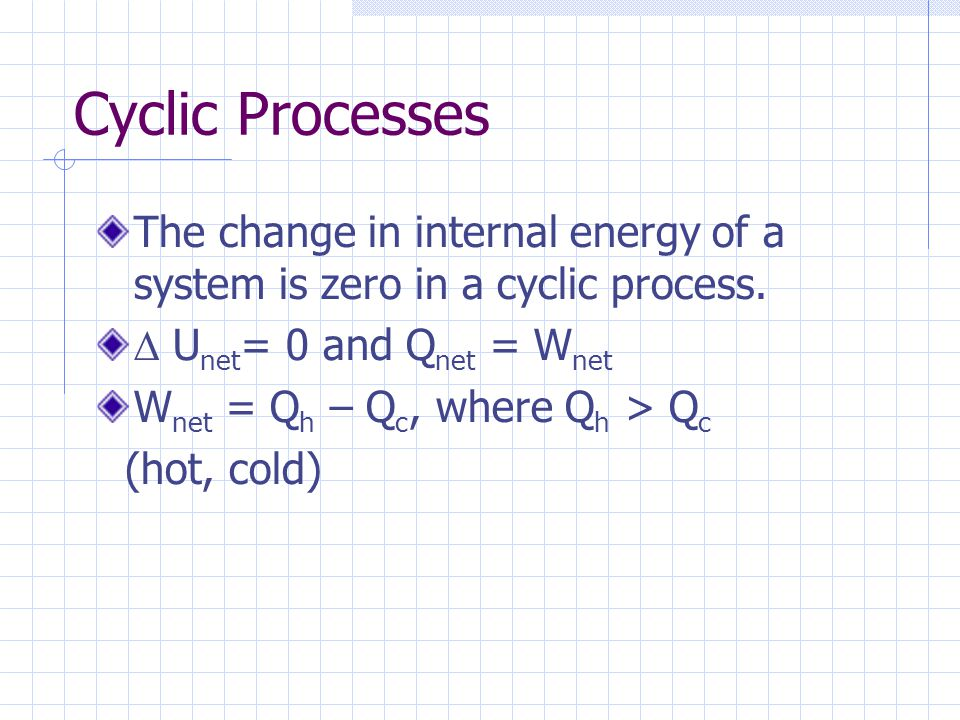 Cyclic Processes The change in internal energy of a system is zero in a cyclic process.  Unet= 0 and Qnet = Wnet.
