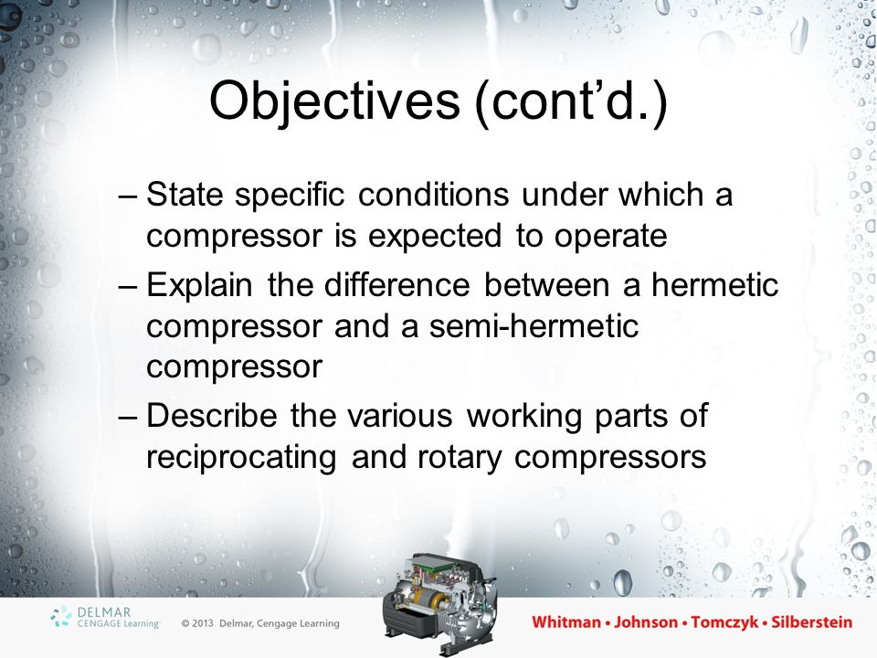 Objectives (cont'd.) State specific conditions under which a compressor is expected to operate.