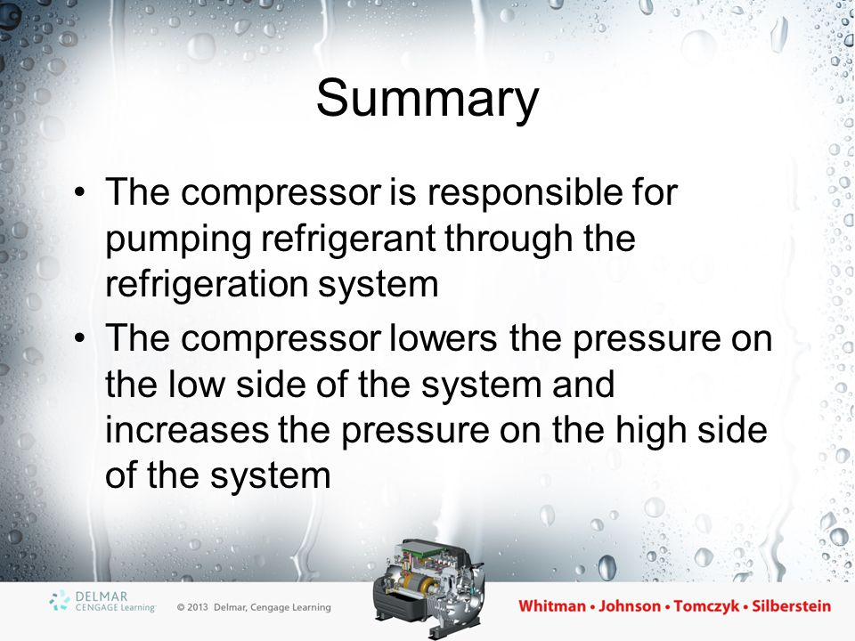 Summary The compressor is responsible for pumping refrigerant through the refrigeration system.