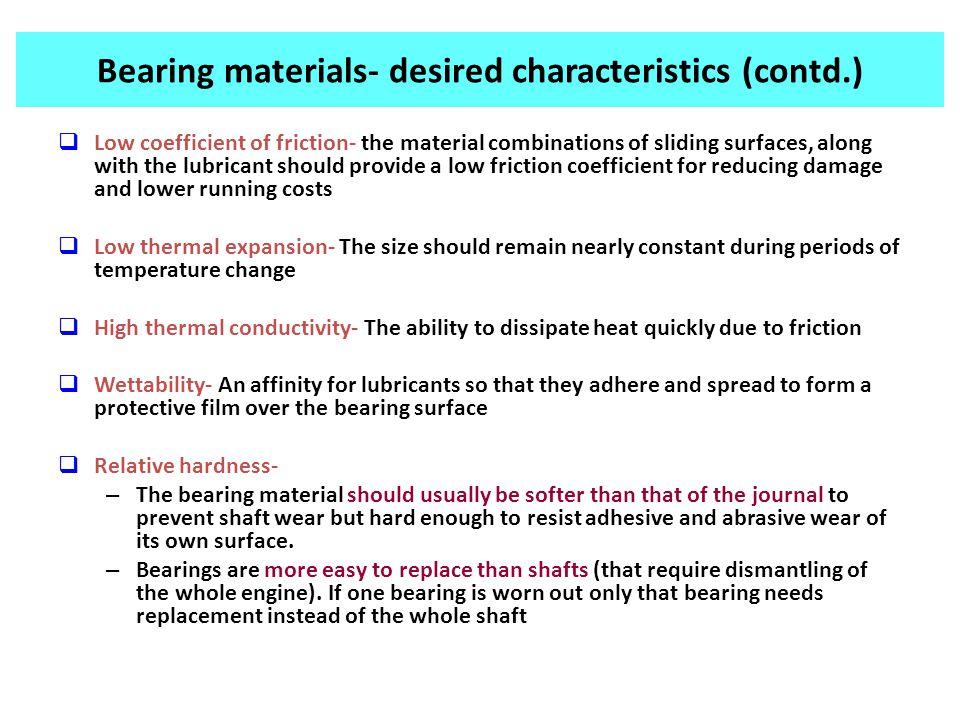 Bearing materials- desired characteristics