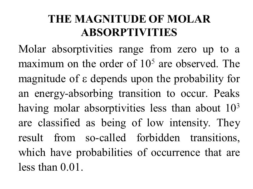 THE MAGNITUDE OF MOLAR ABSORPTIVITIES