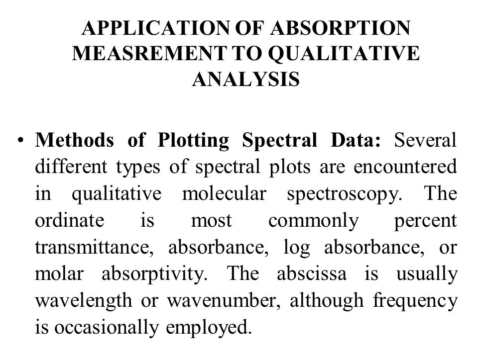 APPLICATION OF ABSORPTION MEASREMENT TO QUALITATIVE ANALYSIS