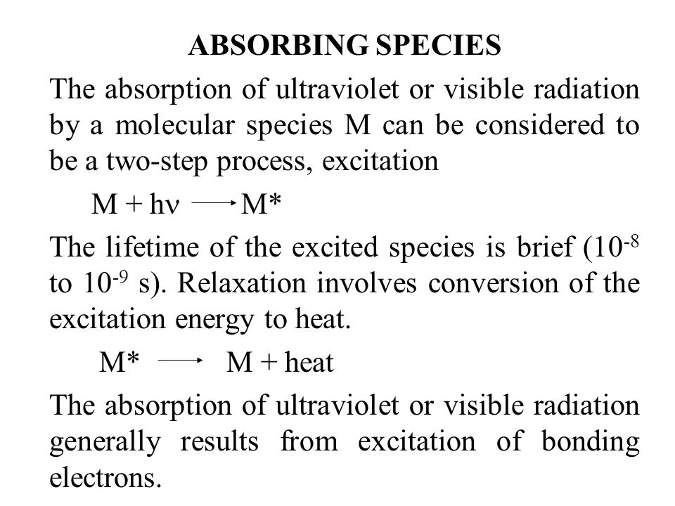 ABSORBING SPECIES The absorption of ultraviolet or visible radiation by a molecular species M can be considered to be a two-step process, excitation.