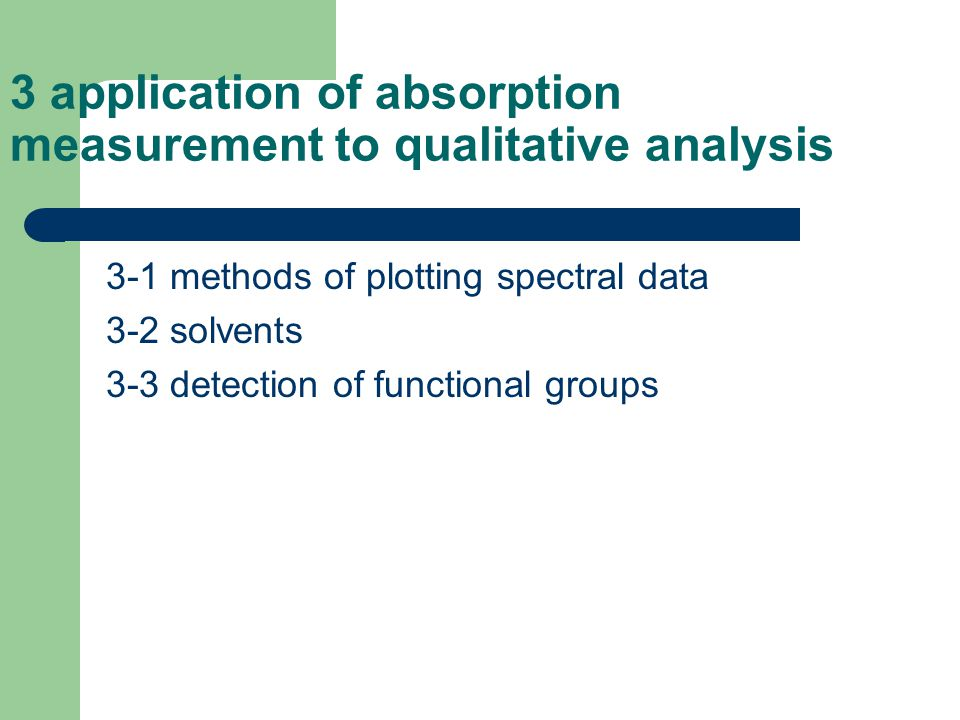 3 application of absorption measurement to qualitative analysis
