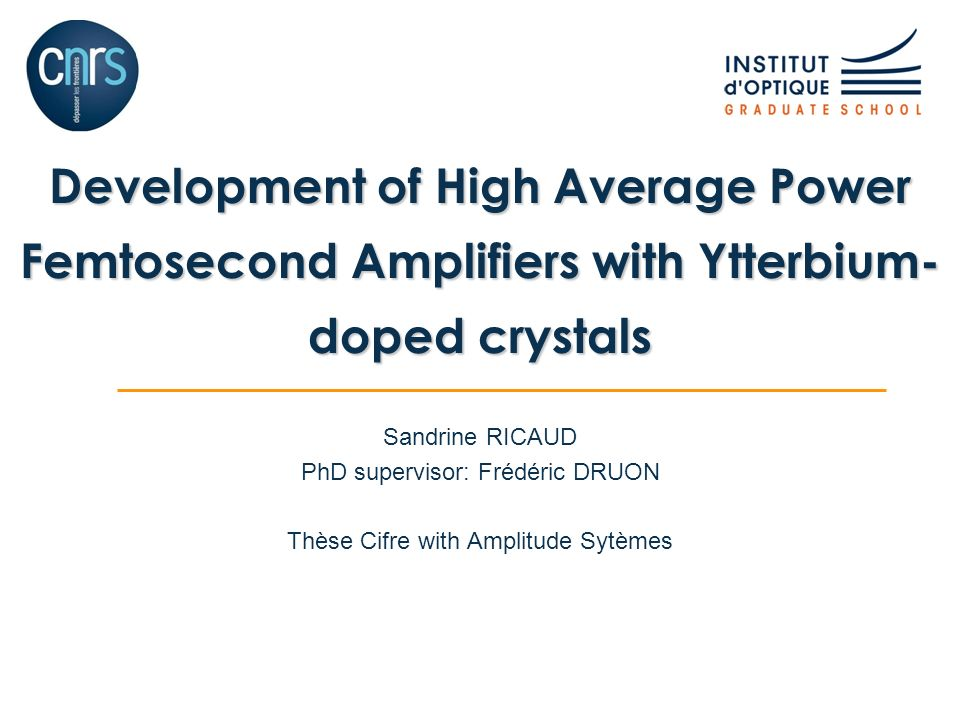 Development of High Average Power Femtosecond Amplifiers with Ytterbium-doped crystals