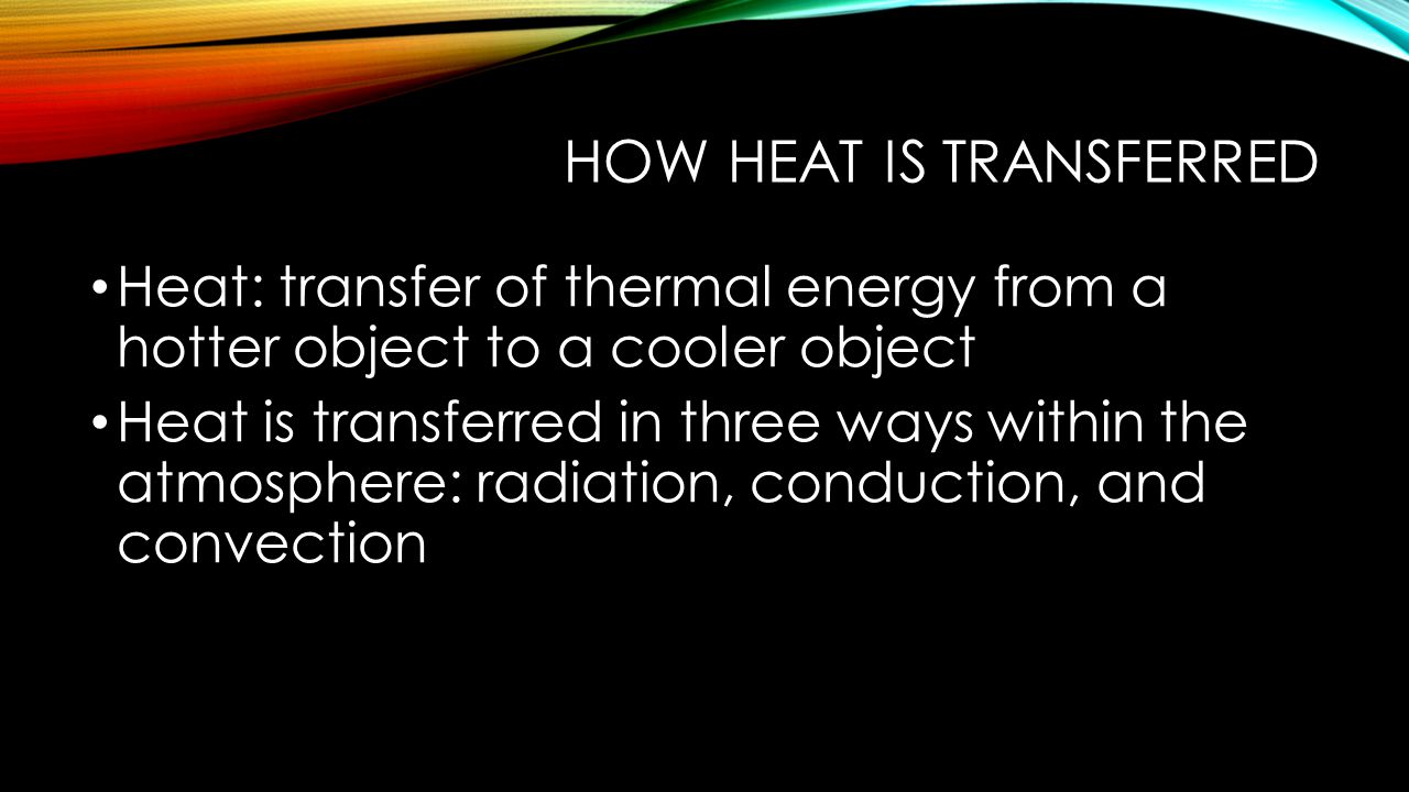 How heat is transferred