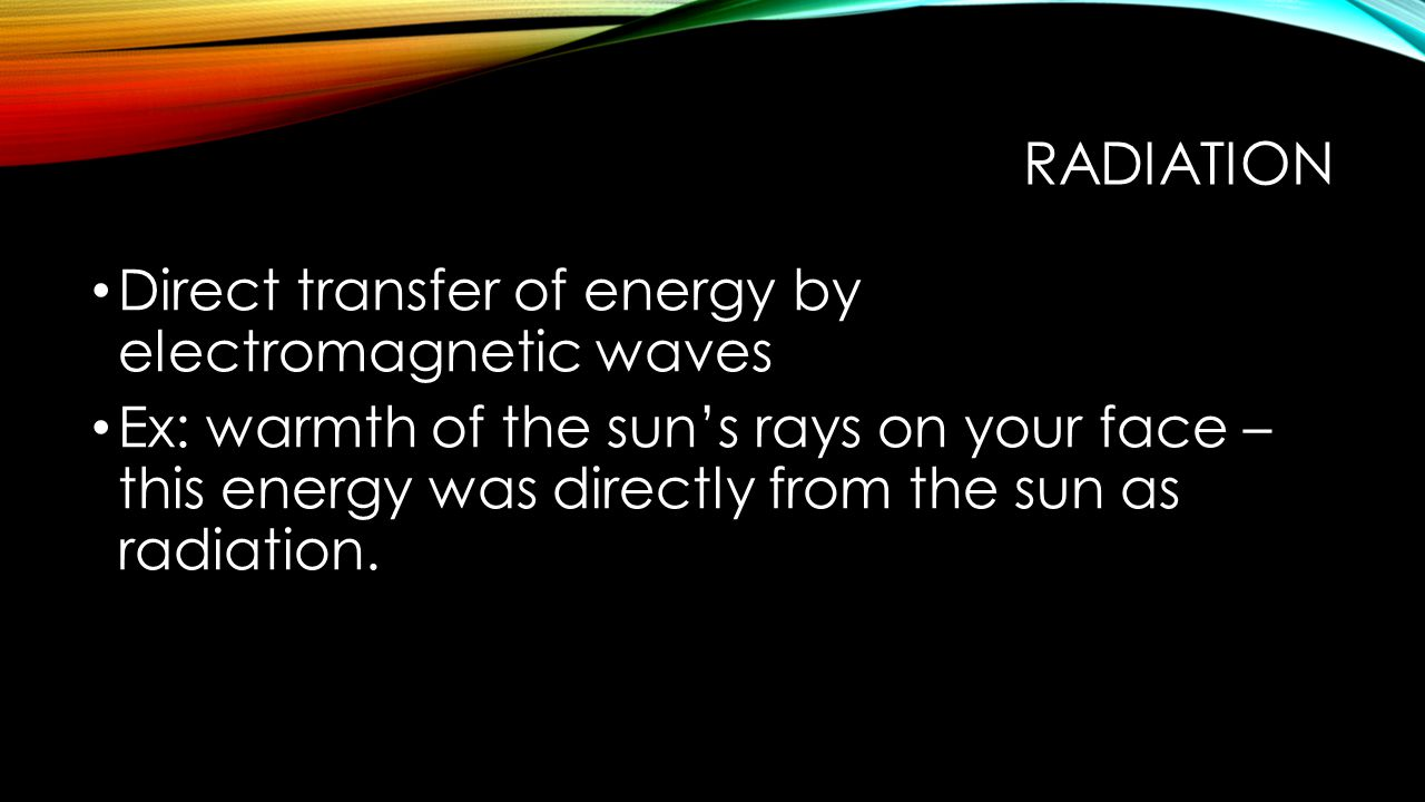 radiation Direct transfer of energy by electromagnetic waves