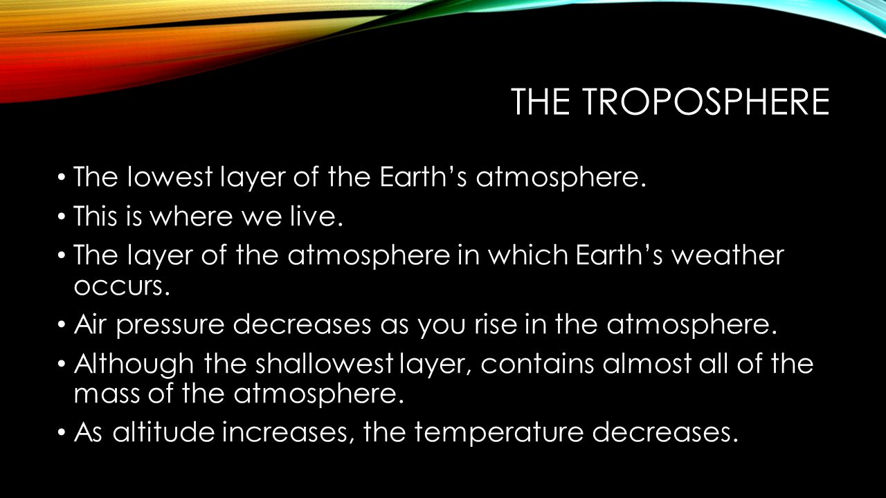 The troposphere The lowest layer of the Earth's atmosphere.