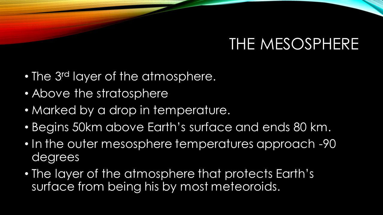 The mesosphere The 3rd layer of the atmosphere. Above the stratosphere