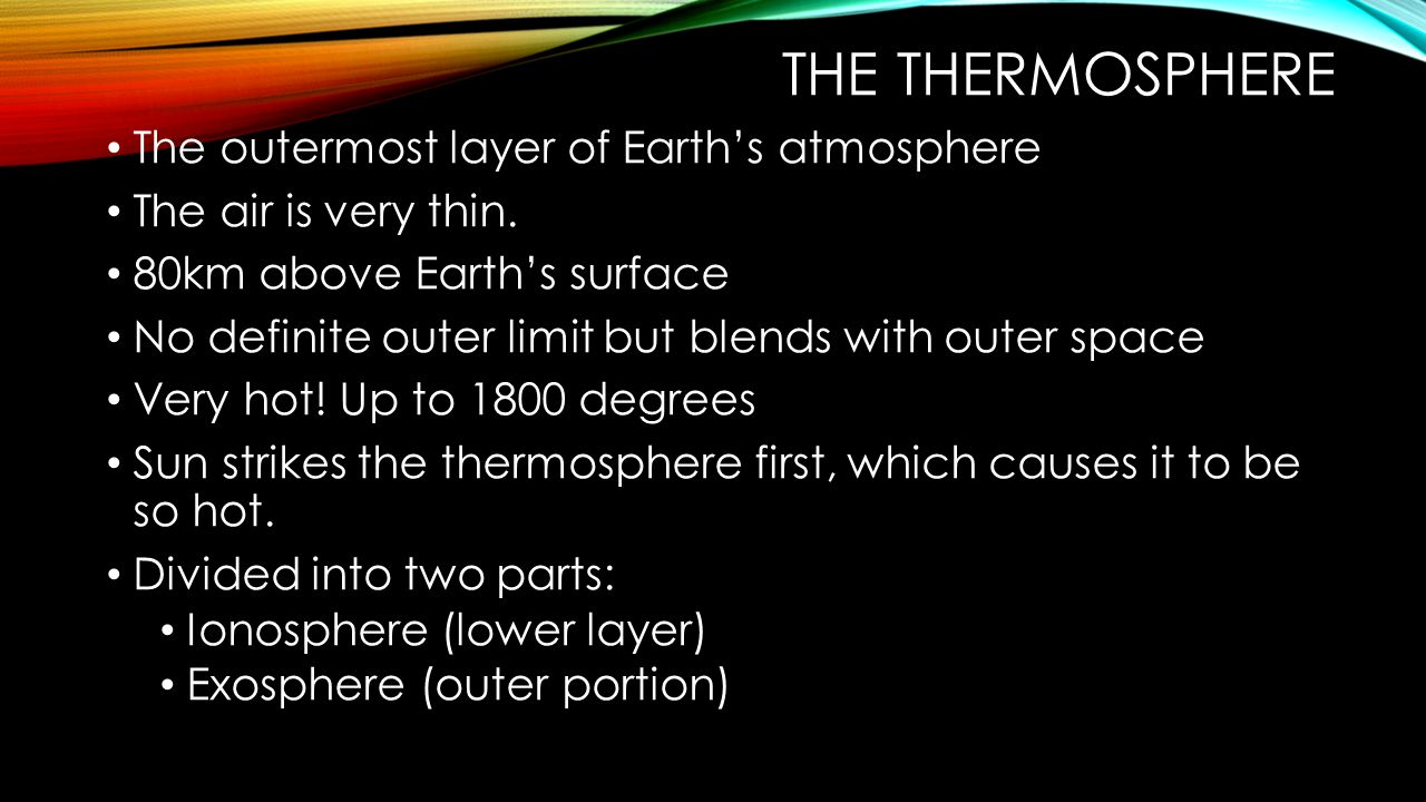 The thermosphere The outermost layer of Earth's atmosphere