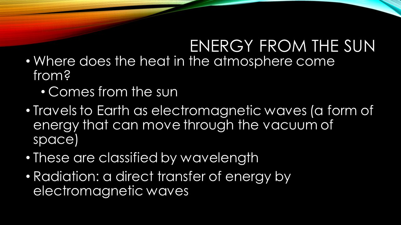 Energy from the sun Where does the heat in the atmosphere come from