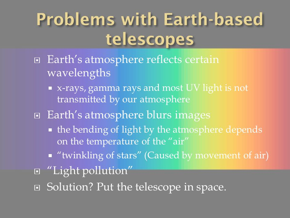 Problems with Earth-based telescopes