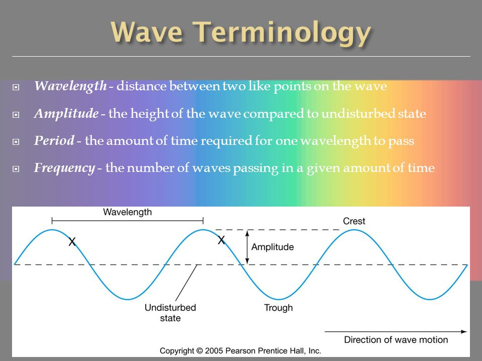 Wave Terminology Wavelength - distance between two like points on the wave. Amplitude - the height of the wave compared to undisturbed state.