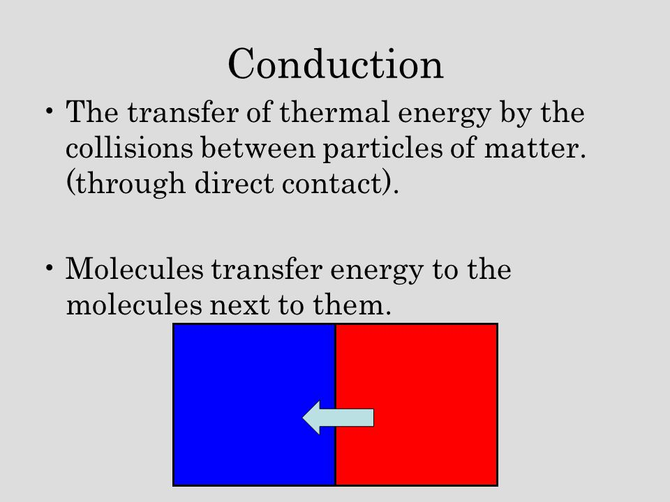 Conduction The transfer of thermal energy by the collisions between particles of matter. (through direct contact).