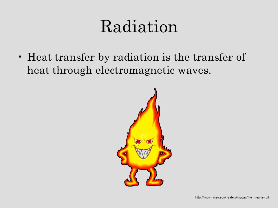 Radiation Heat transfer by radiation is the transfer of heat through electromagnetic waves.