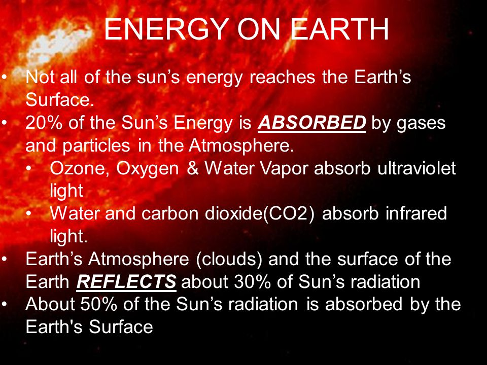 ENERGY ON EARTH Not all of the sun's energy reaches the Earth's Surface.