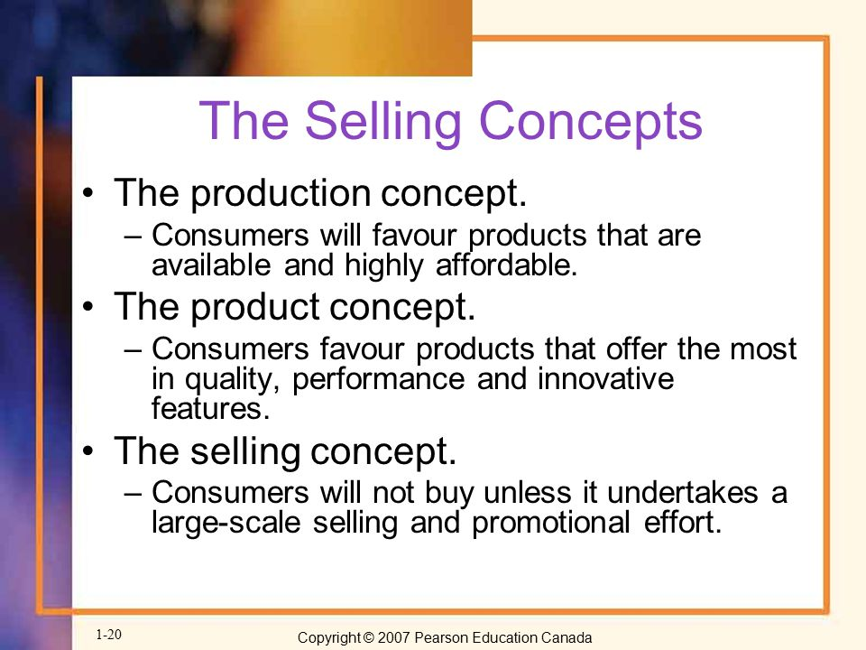 The Selling Concepts The production concept. The product concept.