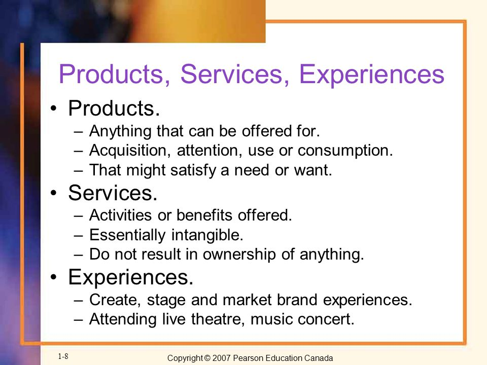 Products, Services, Experiences