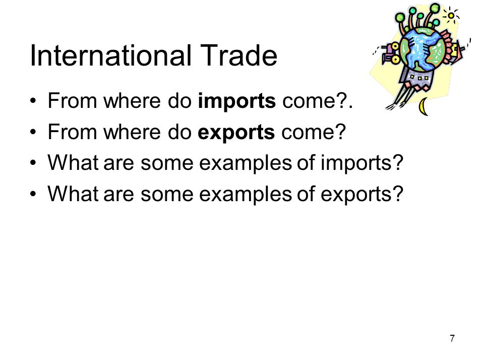 International Trade From where do imports come .