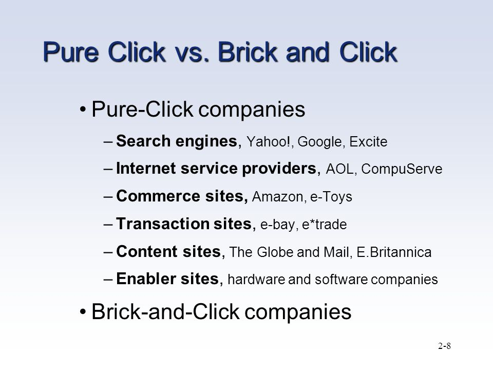 pure online vs brick and click business
