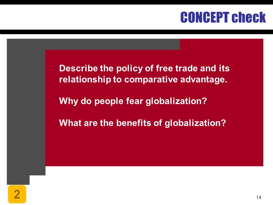 CONCEPT check Describe the policy of free trade and its relationship to comparative advantage. Why do people fear globalization