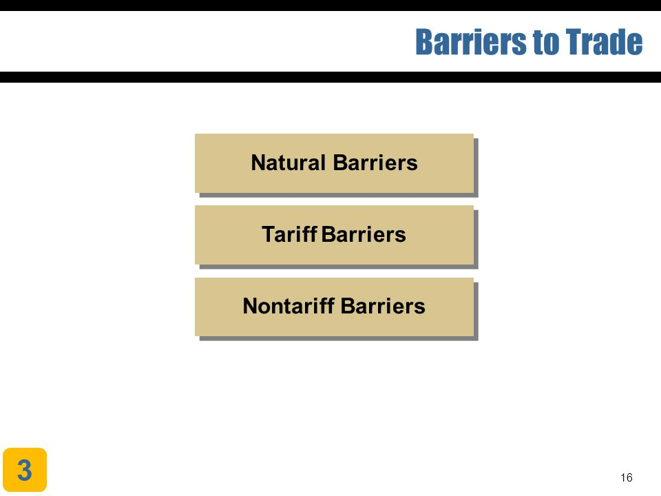 Barriers to Trade 3 Natural Barriers Tariff Barriers