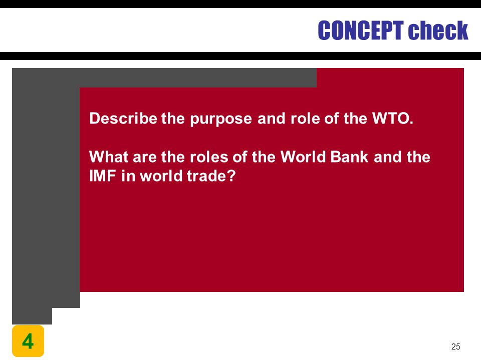 CONCEPT check 4 Describe the purpose and role of the WTO.