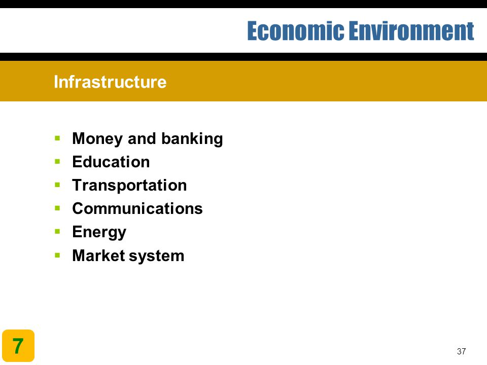 Economic Environment 7 Infrastructure Money and banking Education