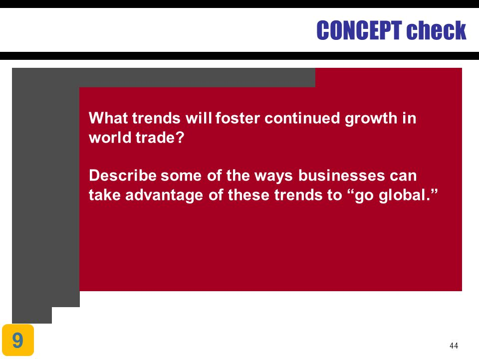 CONCEPT check What trends will foster continued growth in world trade