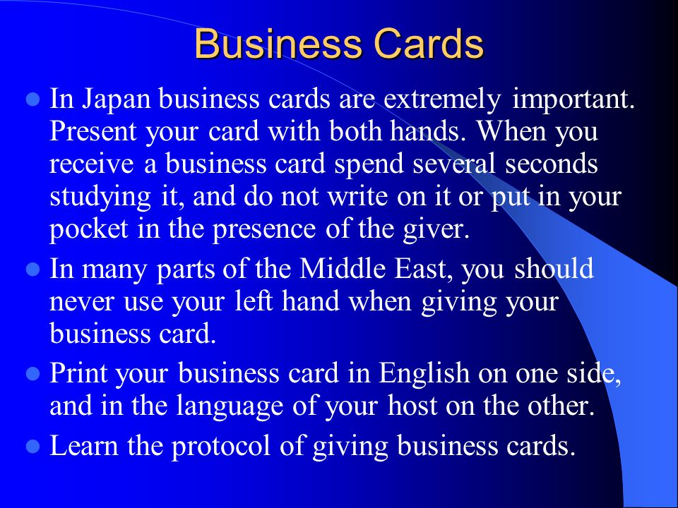 Cultural awareness and business etiquette around the world ppt business cards reheart Choice Image