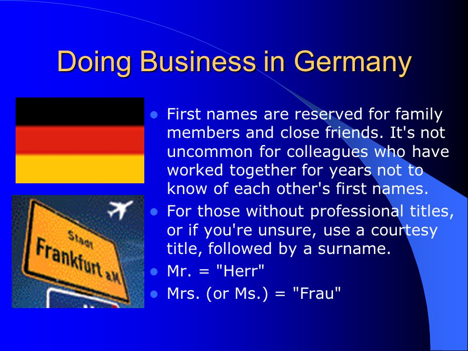 Cultural awareness and business etiquette around the world ppt doing business in germany m4hsunfo