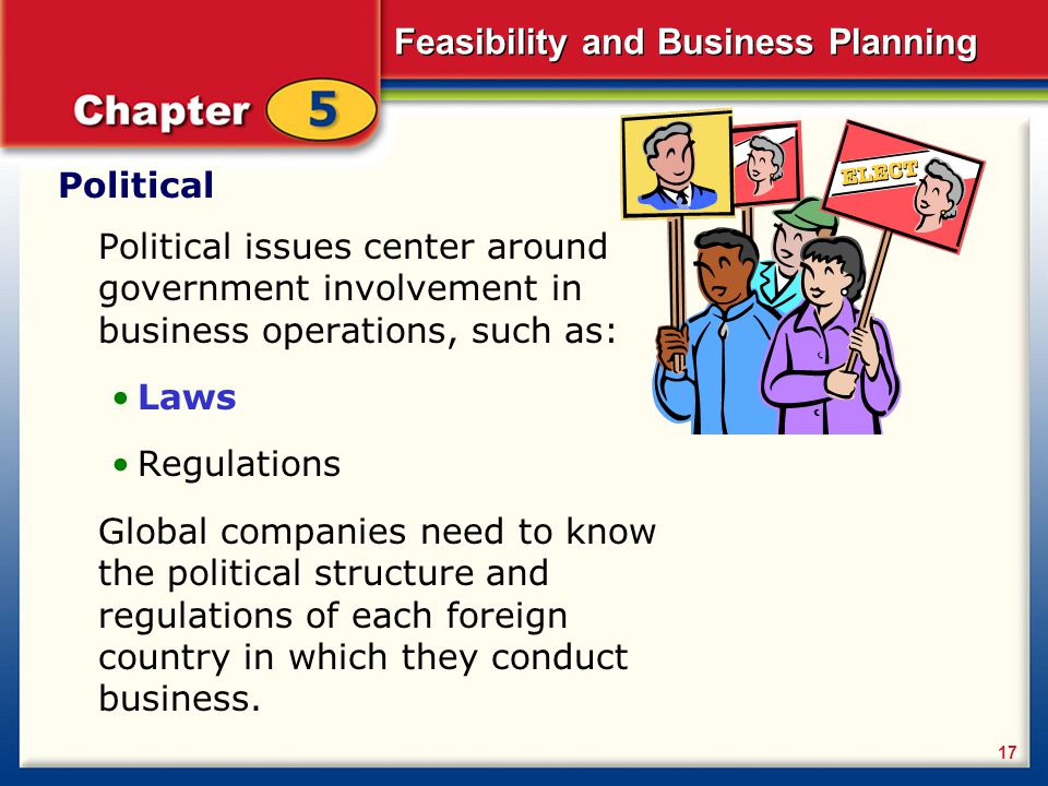 Political Political issues center around government involvement in business operations, such as: Laws.