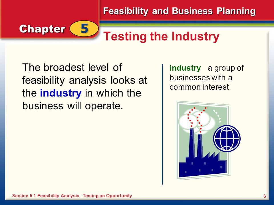 Testing the Industry The broadest level of feasibility analysis looks at the industry in which the business will operate.
