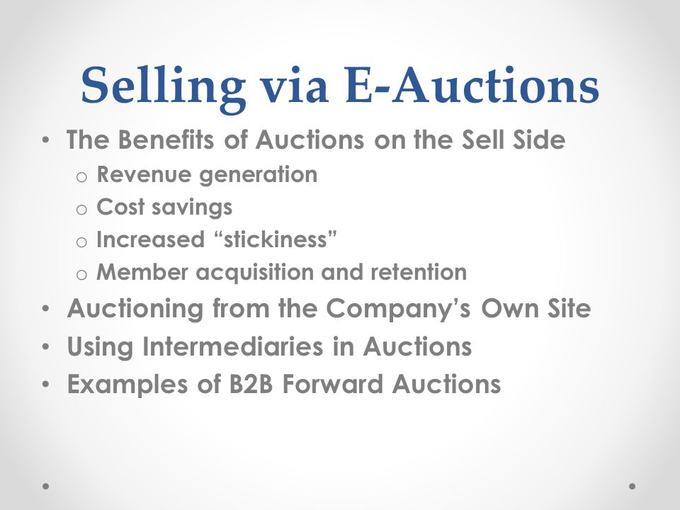 Selling via E-Auctions