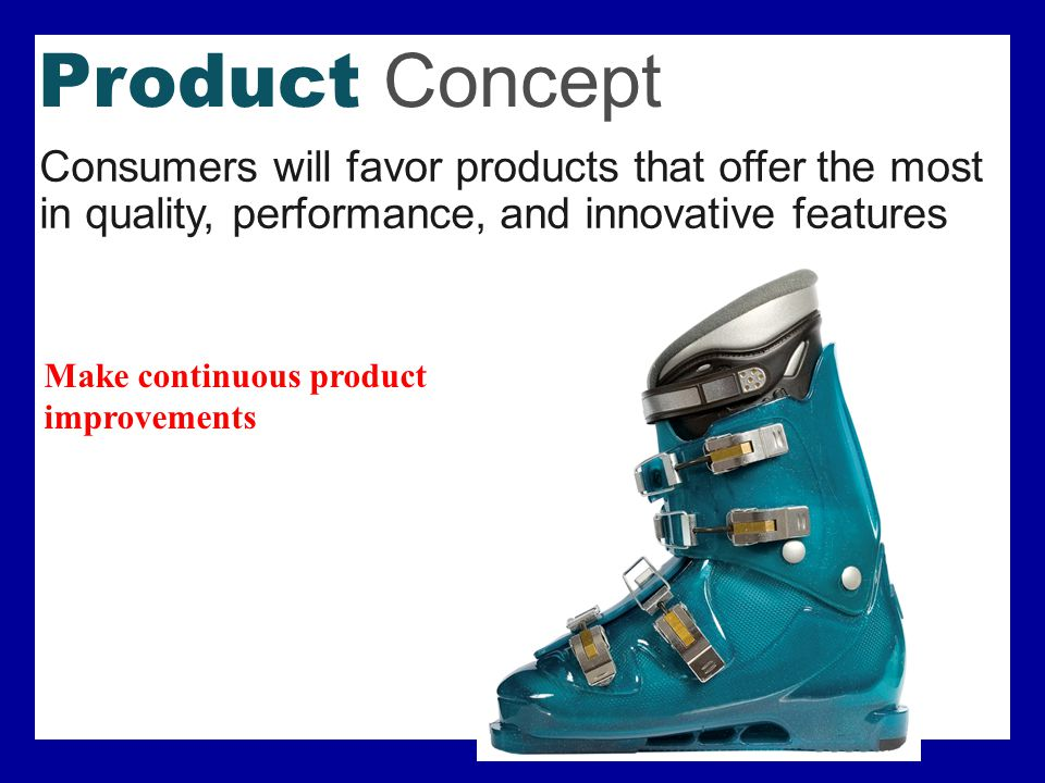 Selling Concept Consumers will not buy enough without a large scale selling and promotion effort.