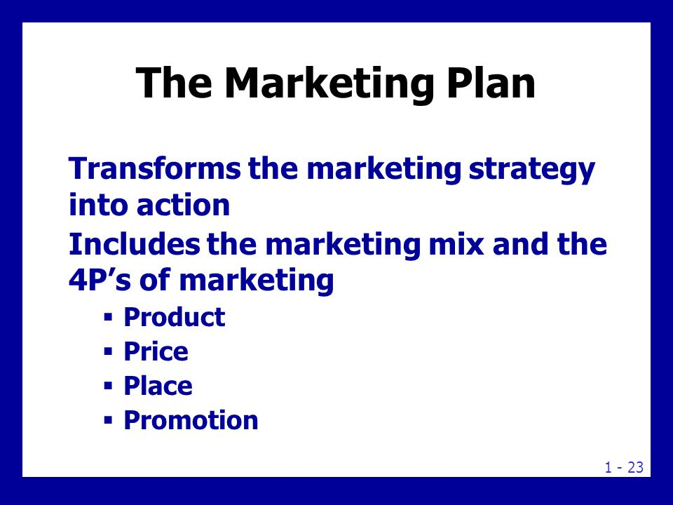 The marketing mix is the set of tools (four Ps) the firm uses to implement its marketing strategy. It includes product, price, promotion, and place.