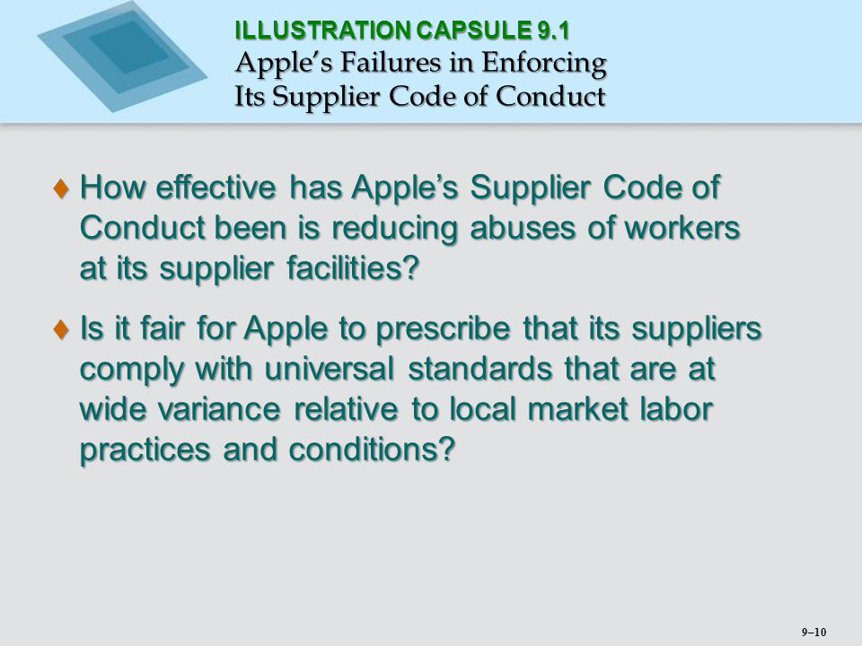 ILLUSTRATION CAPSULE 9.1 Apple's Failures in Enforcing. Its Supplier Code of Conduct.