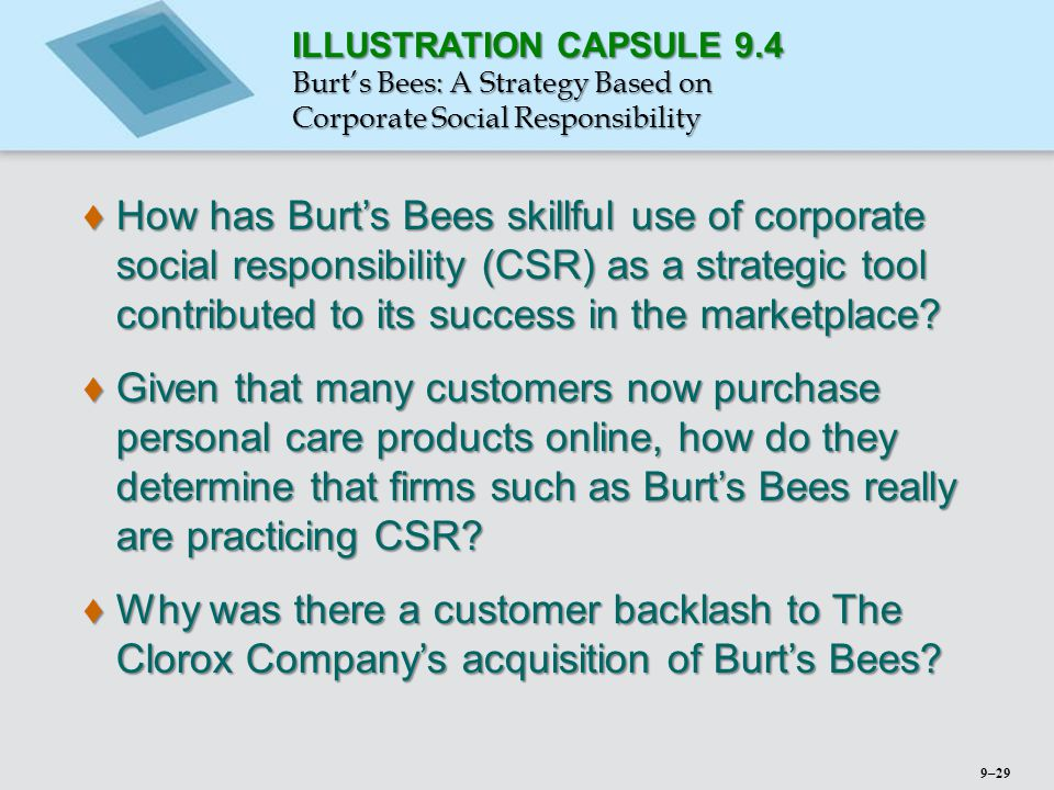 ILLUSTRATION CAPSULE 9.4 Burt's Bees: A Strategy Based on Corporate Social Responsibility