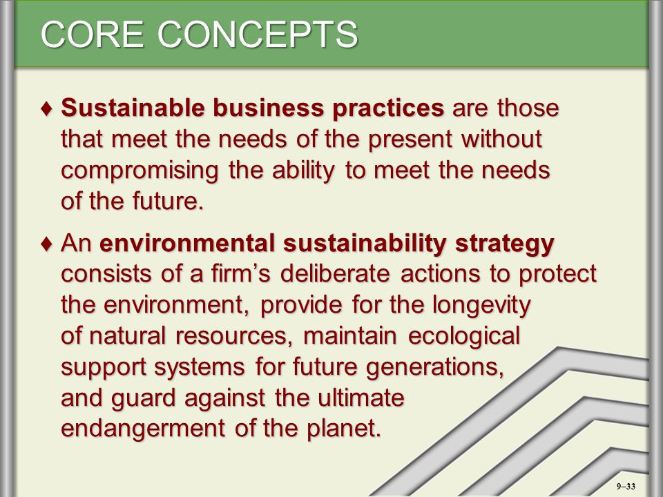 Sustainable business practices are those that meet the needs of the present without compromising the ability to meet the needs of the future.