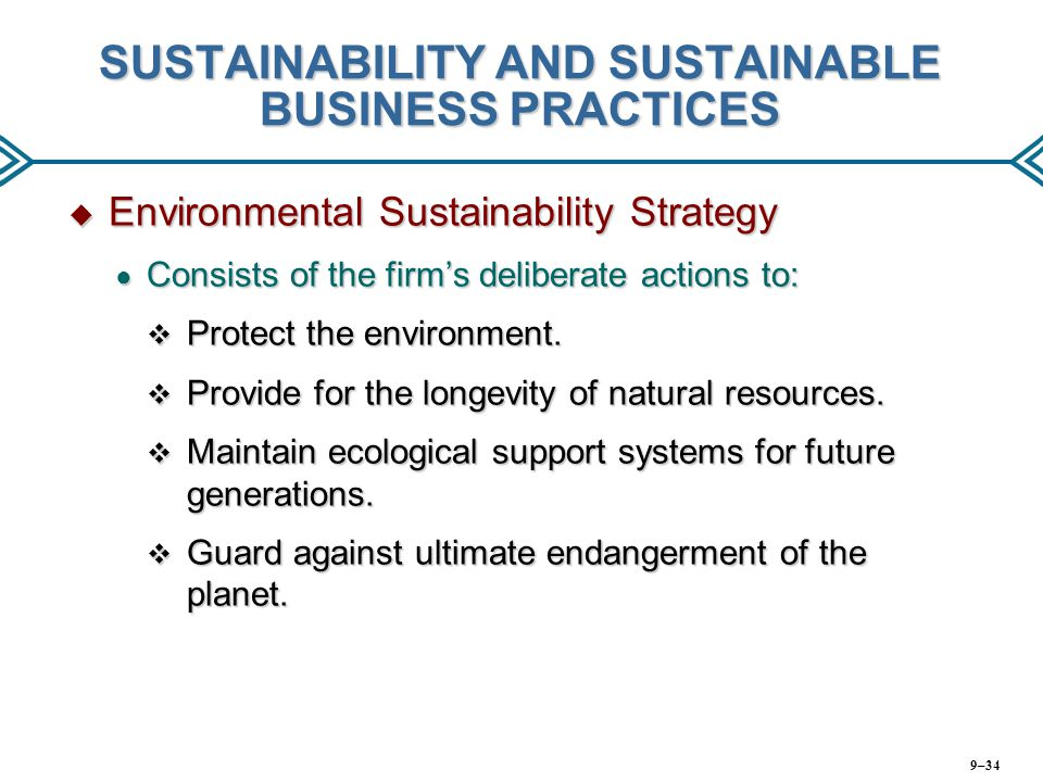 SUSTAINABILITY AND SUSTAINABLE BUSINESS PRACTICES
