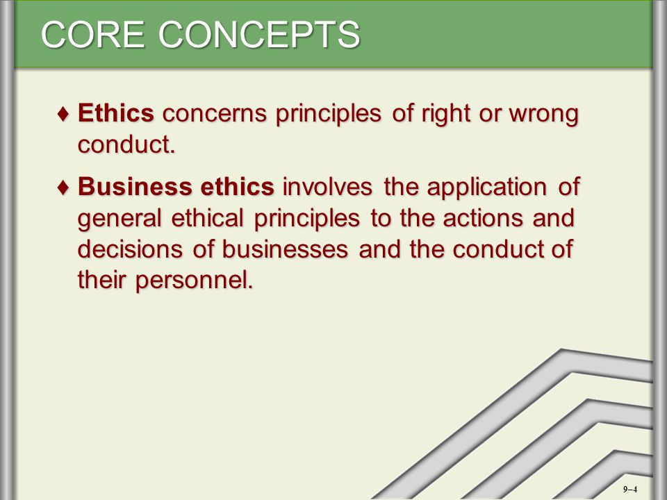 Ethics concerns principles of right or wrong conduct.