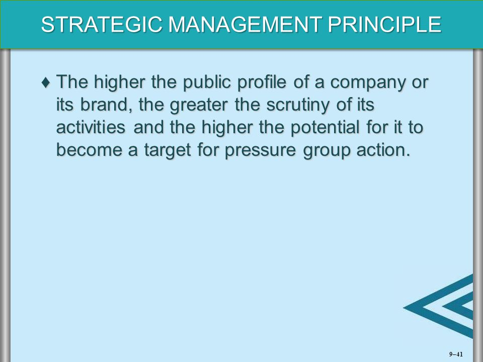 The higher the public profile of a company or its brand, the greater the scrutiny of its activities and the higher the potential for it to become a target for pressure group action.