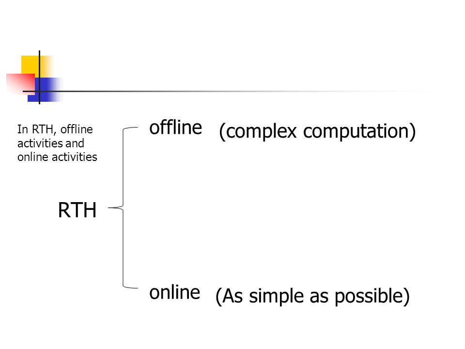 RTH offline (complex computation) online (As simple as possible)