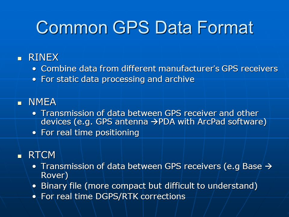 Introduction to GPS Data NMEA & RTCM - ppt video online download