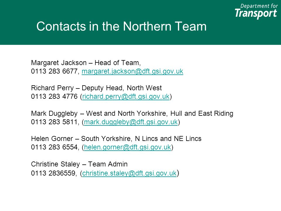 Contacts in the Northern Team