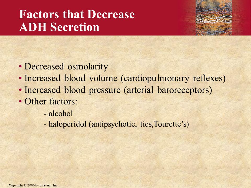 Factors that Decrease ADH Secretion