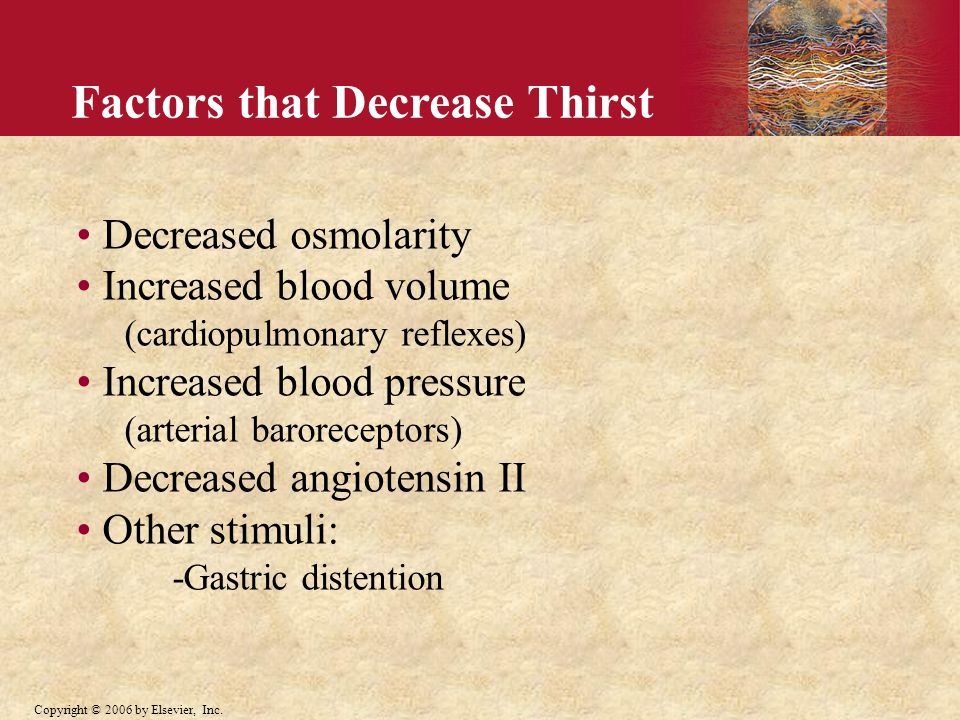 Factors that Decrease Thirst