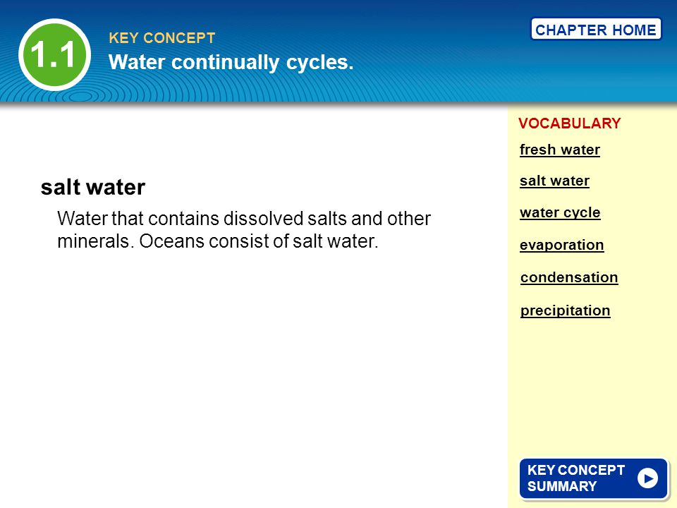 1.1 salt water Water continually cycles.